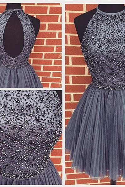 Halter High Neck Beaded Bodice Gray Tulle Homecoming Dresses Open Back Short Prom Gowns 1759