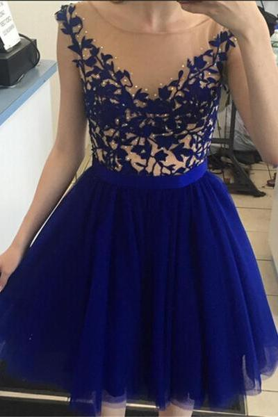 Princess Embroidery Bodice Royal Blue Tulle Skirt Homecoming Dresses Short Prom Dresses 1757