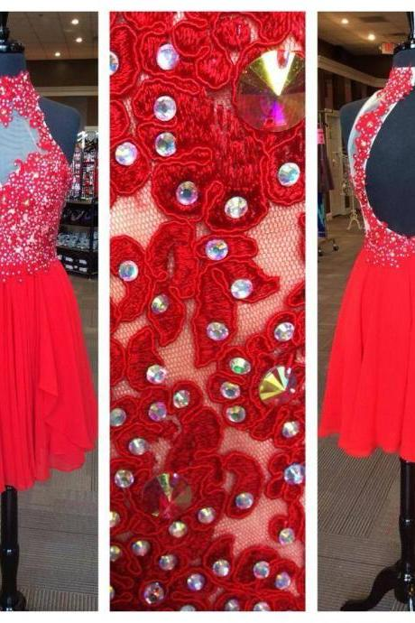 Red Homecoming Dresses with Lace Appliqued Open Back Short Prom Dresses 2016 1537
