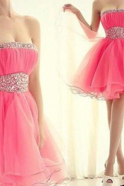 Strapless Homecoming Dresses,Fuchsia Organza Short Prom Dresses,Sparkly Cocktail Dresses,Sweet 16 Dresses 1248