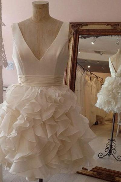 Princess V-neck Little White Dress,Simple Homecoming Dresses,Organza Ruffles Skirt Short Wedding Dresses,1829