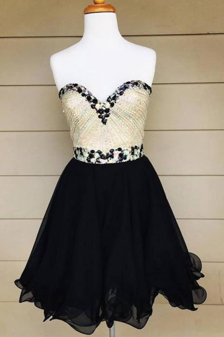 Black Chiffon Homecoming Dresses,Sparkly Beaded Bodice Short Prom Dresses,2K16 Hoco Dresses,Beaded Sweet 16 Dress,1833