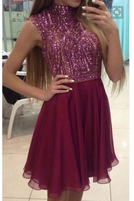 Beaded Bodice Burgundy Short Prom Dresses,Shinny Homecoming Dresses,Sparkly Cocktail dresses,Mini Dress for Formal Party,1849
