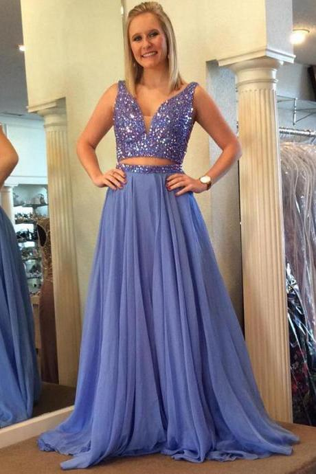 A-line V-neck Lavender chiffon Beaded Prom Dresses,Two Pieces Prom Dresses,2 Pieces Pageant Dresses,1969