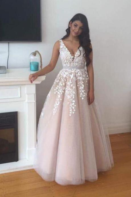 Princess Nude Tulle with White Lace Appliqued Prom Dresses,Long Prom Dresses,2K17 Prom Dresses,1994