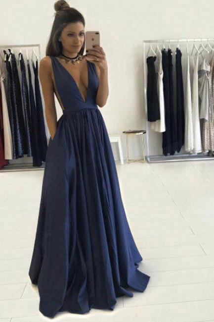 Sexy Deep V-neck Cheap Prom Dress with Pocket,Navy Formal Dress,2017 Senior Prom Pageant Wear,2140