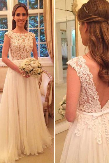 Lace Bodice Chiffon Skirt Wedding Dress,Beach Wedding Dress,Bridal Gowns,2220
