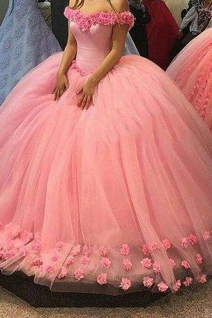 Off Shoulder Pink Tulle with Flowers Ball Gown Prom Dress,Ball Quinceanera Dresses,Sweet 16 Dress,2225