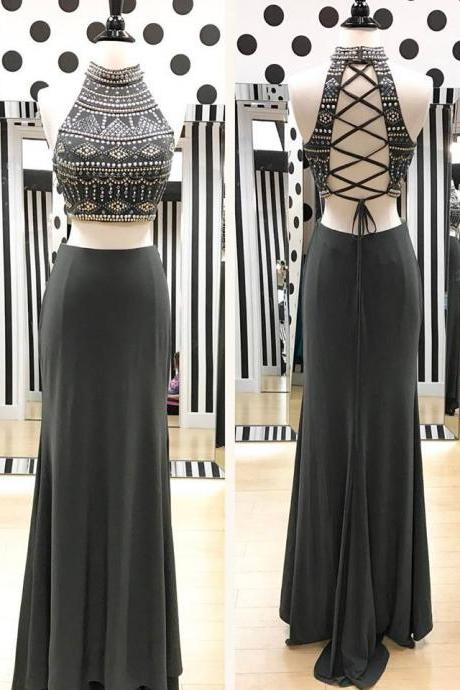 Dark Grey Jersey Boho Prom Dresses,Two Pieces Prom Dresses,Sparkly Prom Gowns,2312