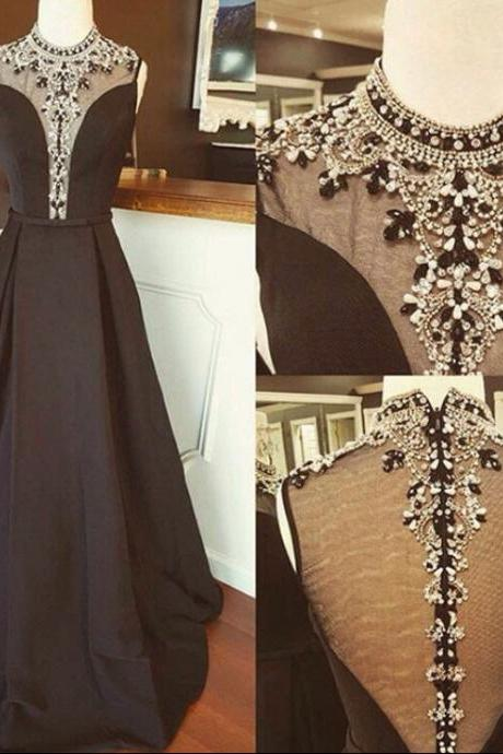 Black High neck Beaded Prom Dress,Long Boho Prom Dresses,Sparkly Formal Dress for prom 2017,2346