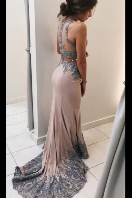 Lace Appliqued 2 Pieces Mermaid Prom Dresses,Sweep Train 2 Pieces Formal Dresses,Senior Prom 2017 Dress,2349
