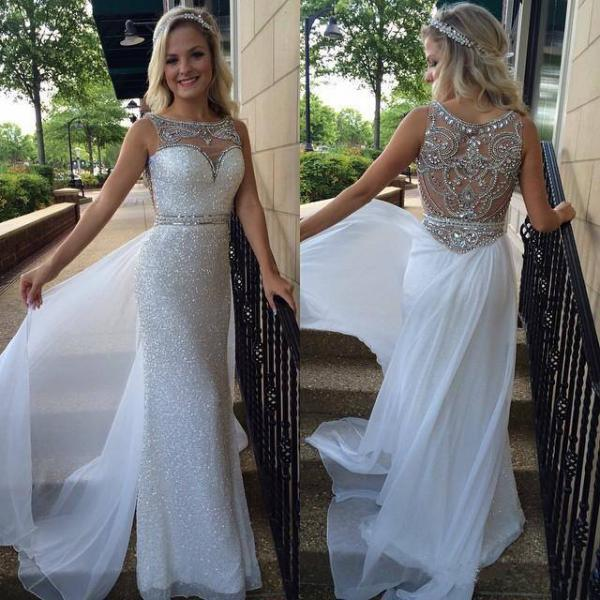 Silver sequins lace prom dresses sheath white chiffon with beaded formal dresses