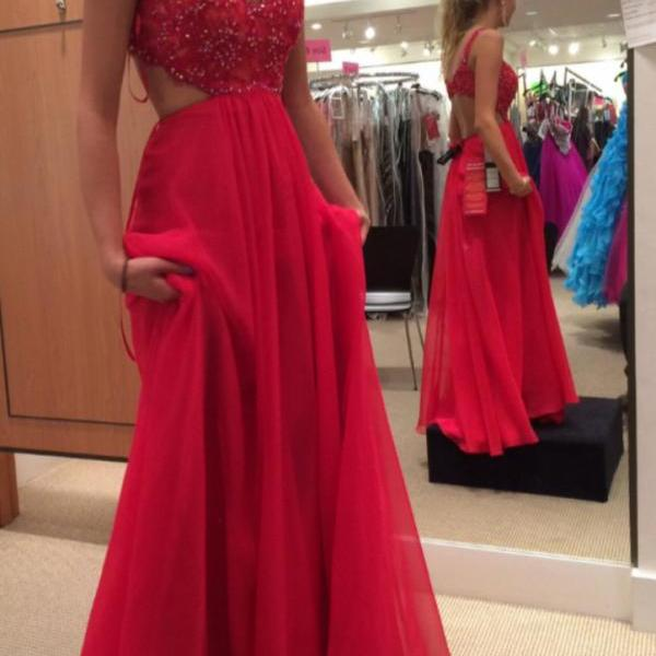 Spaghetti Strap Red Chiffon Prom Dress,Open Back Long Prom Dress,2016 Formal Gown 1722