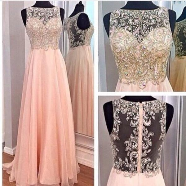 A-line Blush Pink Chiffon Prom Dresses,Beaded Bodice Long Prom Dresses,High Neck Formal Gowns 1282