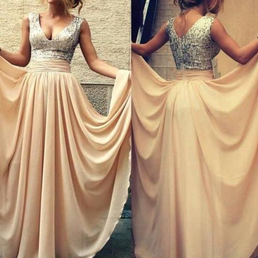 V-neck Silver Sequins Lace Bodice Prom Dresses,Champagne Chiffon Skirt Long Bridesmaid Dresses 1283