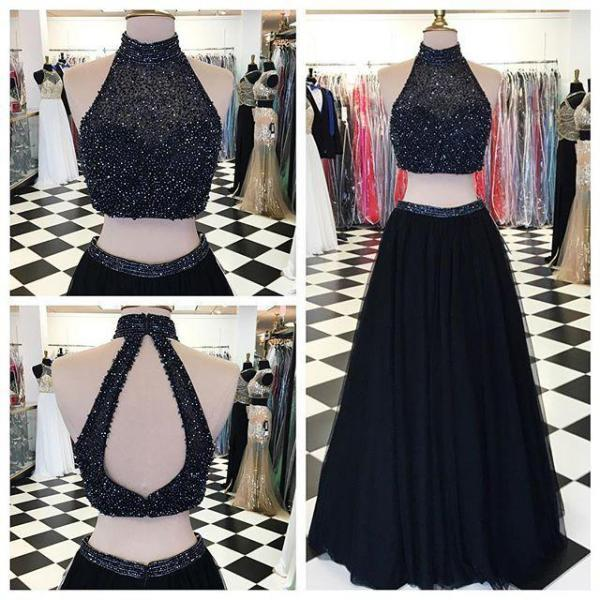 Beaded Bodice Black Jersey 2 Pieces Prom Dresses Slit On Skirt ...