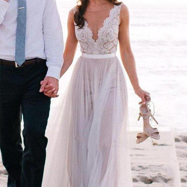 Lace Appliqued V-neck See-through Beach Wedding Dresses,Boho Bridal Gowns,2449